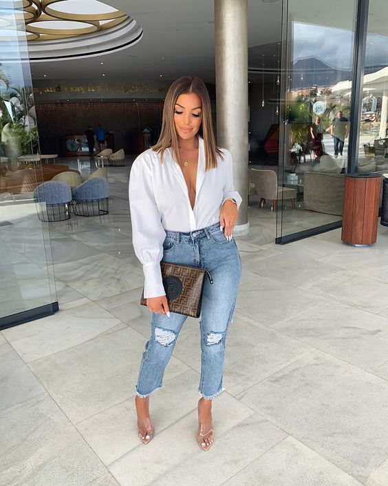 Jeans with white shirt for mature women