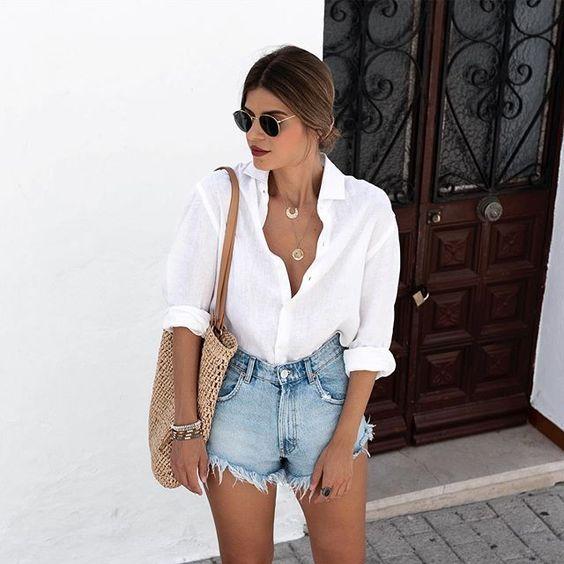 White shirt looks with denim shorts