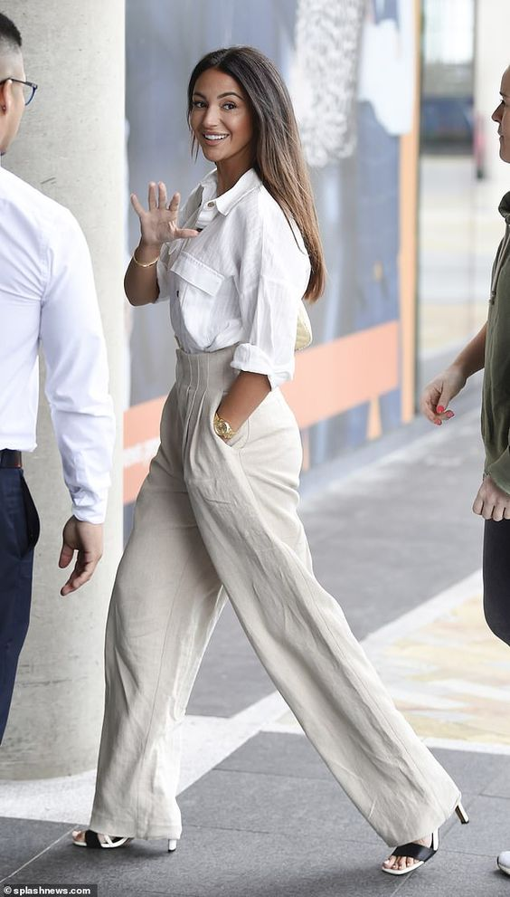 Outfits of white shirts with palazzo