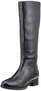 GEOX High boots in genuine leather for women, black color