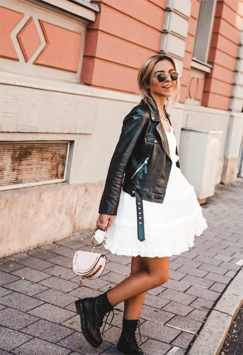 Outfit ideas with a leather jacket with a dress