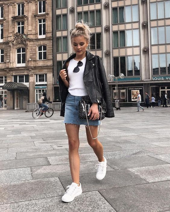Outfits with a leather jacket and denim skirt