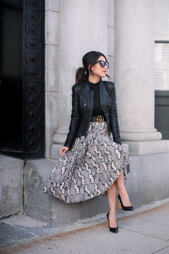Leather jacket with skirts for mature women