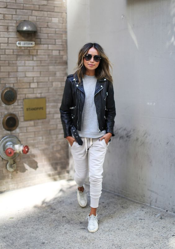 Looks with leather jacket and pants