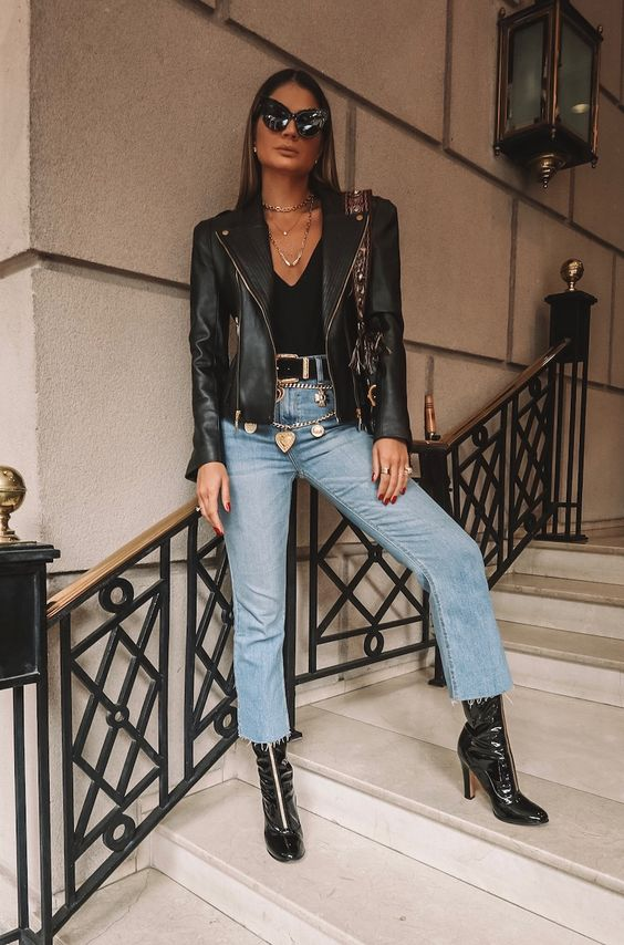 Semi-formal outfits with leather jacket
