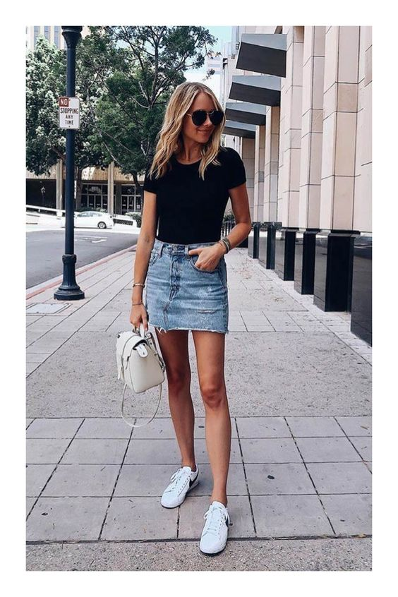 Looks for mature women with denim and tennis skirts