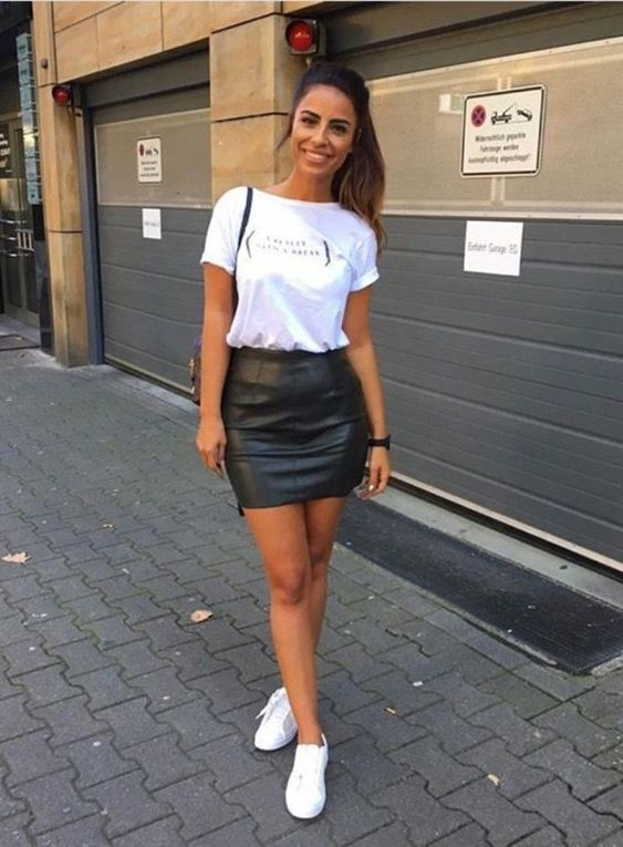 Outfits for mature women with leather skirts and tennis