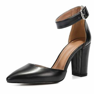 Pointed toe shoes with heel and ankle strap Liuruijia
