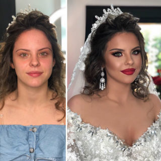 11 photos taken before and after bridal makeup