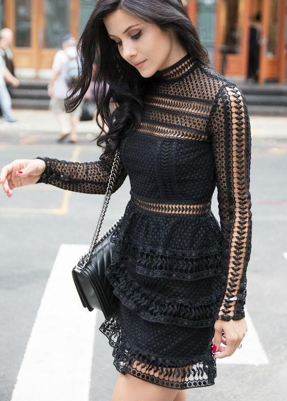 Ideas of black party dresses with transparencies