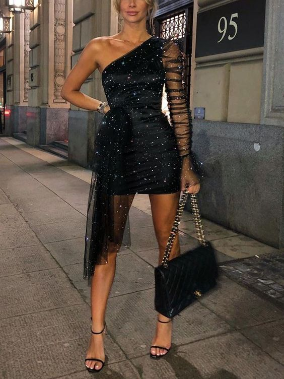 Looks with shiny black party dresses
