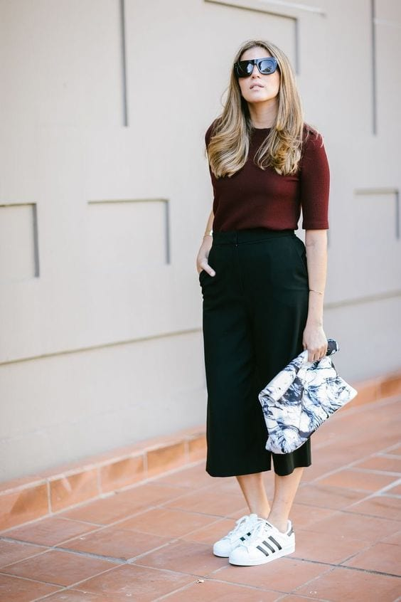Culottes with tennis for mature women