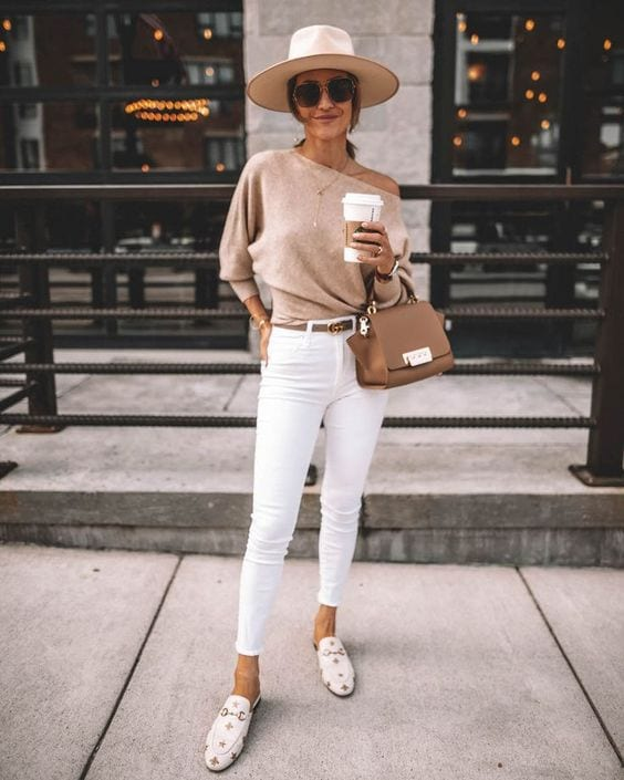 Sunday outfit ideas with white jeans