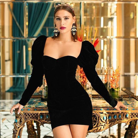 Black dresses with puff sleeves