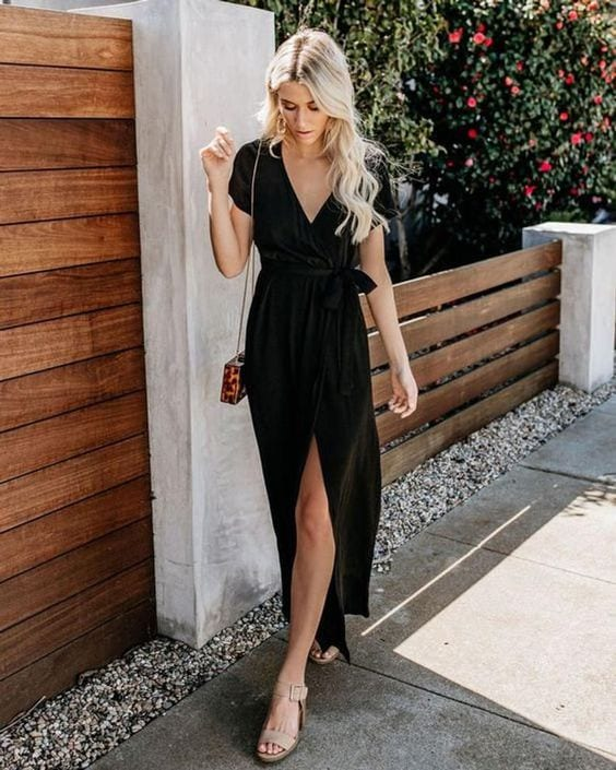 Outfits with black wrap dress for mature women