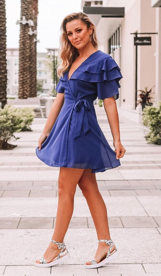 Looks with short wrap dress for women over 40