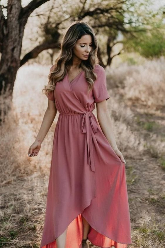 Outfits with wrap-style maxi dresses