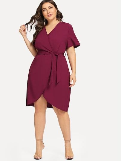 Outfits with wrap dress plus size
