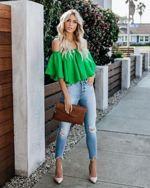Off-the-shoulder tops with denim jeans