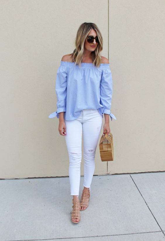 Outfits with off-the-shoulder blouses and white jeans