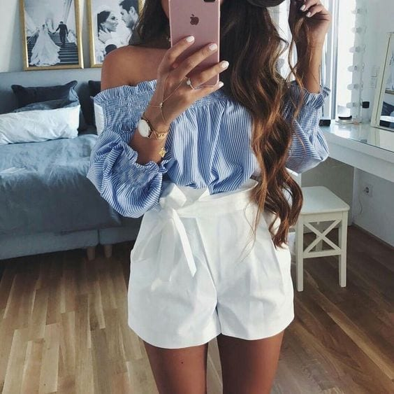 Outfits with off-the-shoulder blouses and shorts