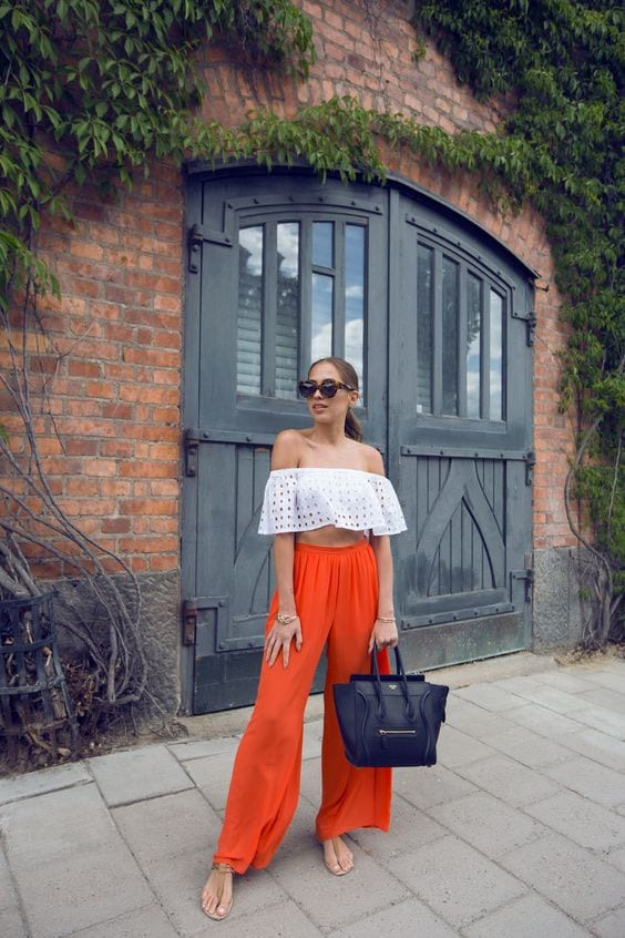 Outfit ideas with off-the-shoulder blouses and palazzo pants