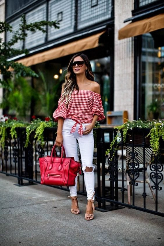 Outfits with colorful off-the-shoulder blouses