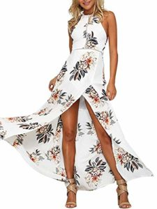 cute Women Bare Back Long Dress Floral Beach Dress