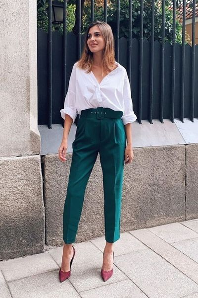 How to wear green troussers pants