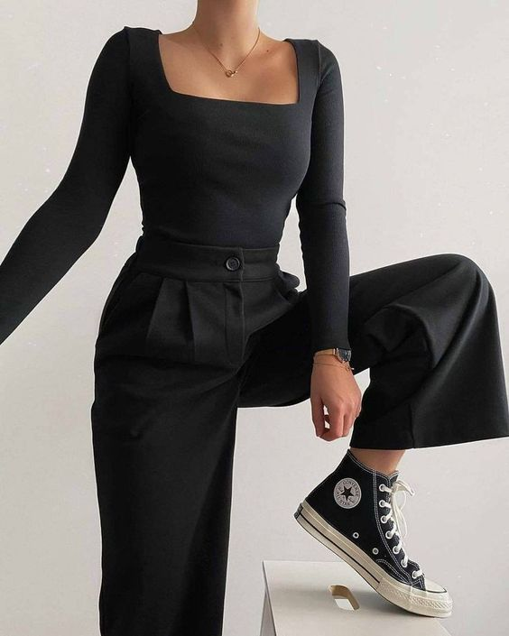 How to wear black troussers pants