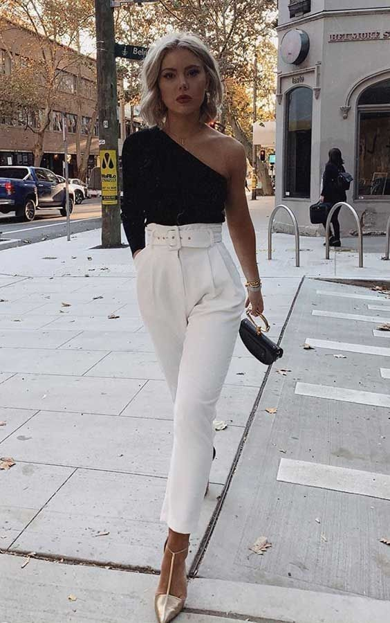 Outfits with white troussers pants