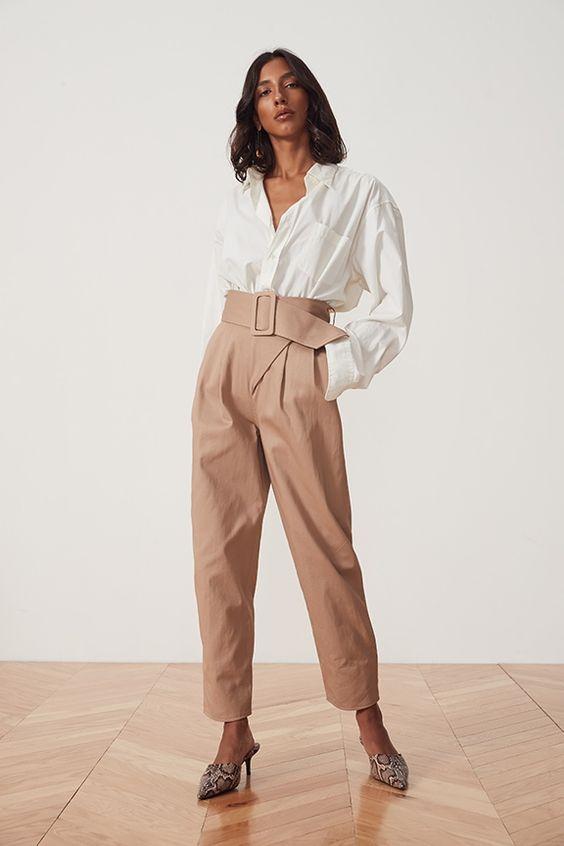 Nude color troussers pants