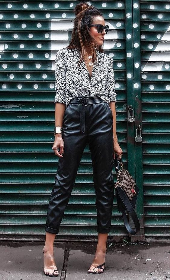 Looks with leather troussers pants