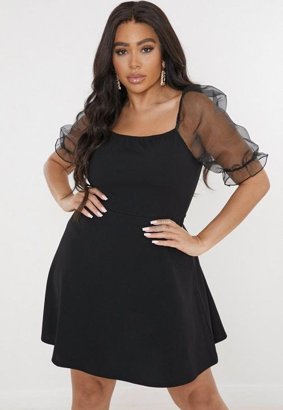 Looks with black dress for gorditas