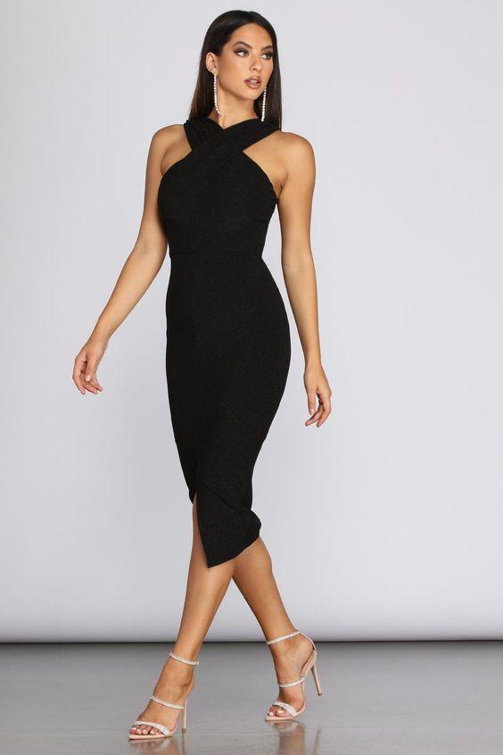 Black party dress for women 40