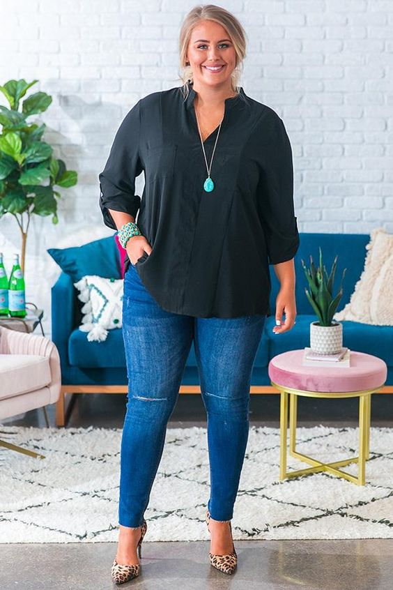 Looks with jeans for plus size work