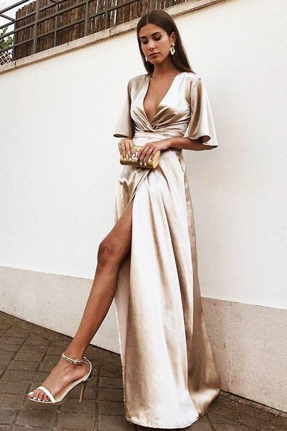 Looks with satin dresses