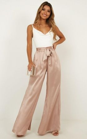 Looks with satin pants