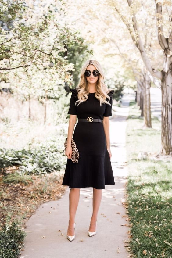 Looks with black dress for women of 40