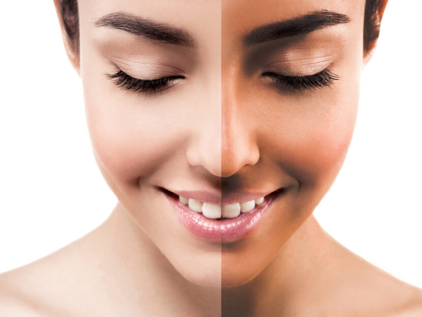 Self-tanning sunscreen effect