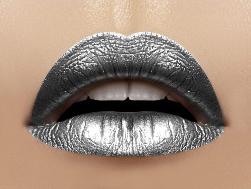 Gray sparkling lipsticks