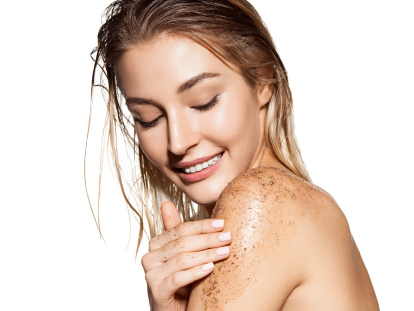 scrub to promote tanning