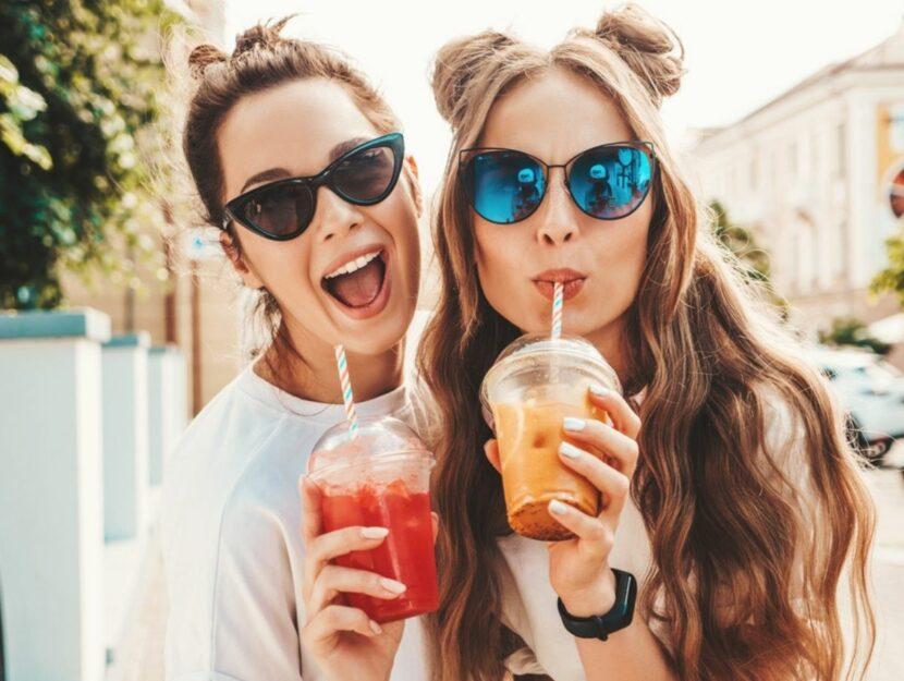 girls drink smoothie