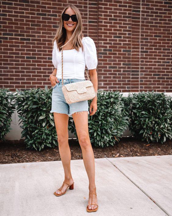 Wear high-waisted denim shorts