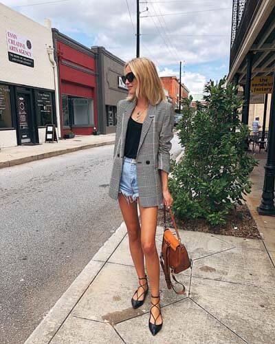 Denim shorts with checked blazer