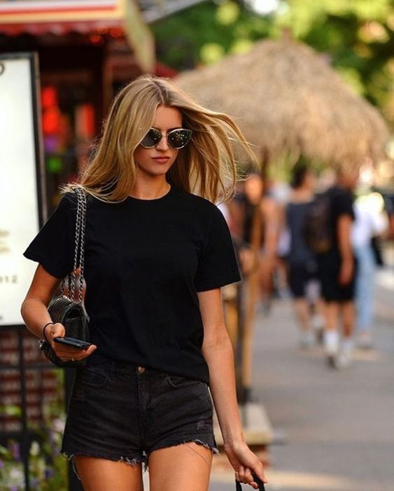 Outfits with black shorts