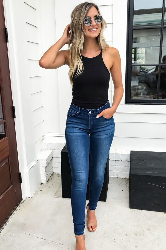 Skinny jeans with bodysuits