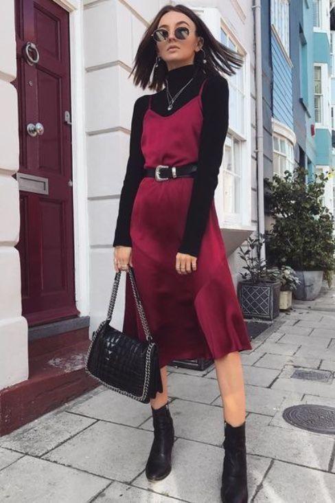 Slik dress with long sleeve blouse at the bottom
