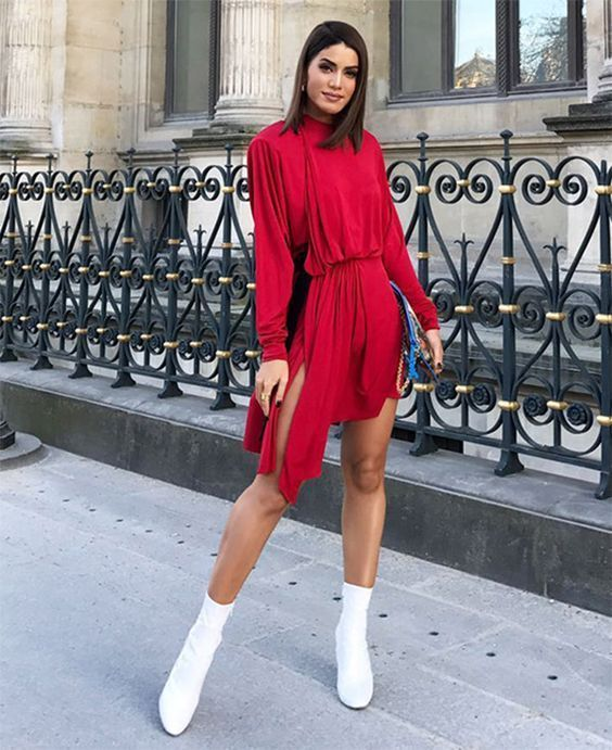 Red dresses with ankle boots