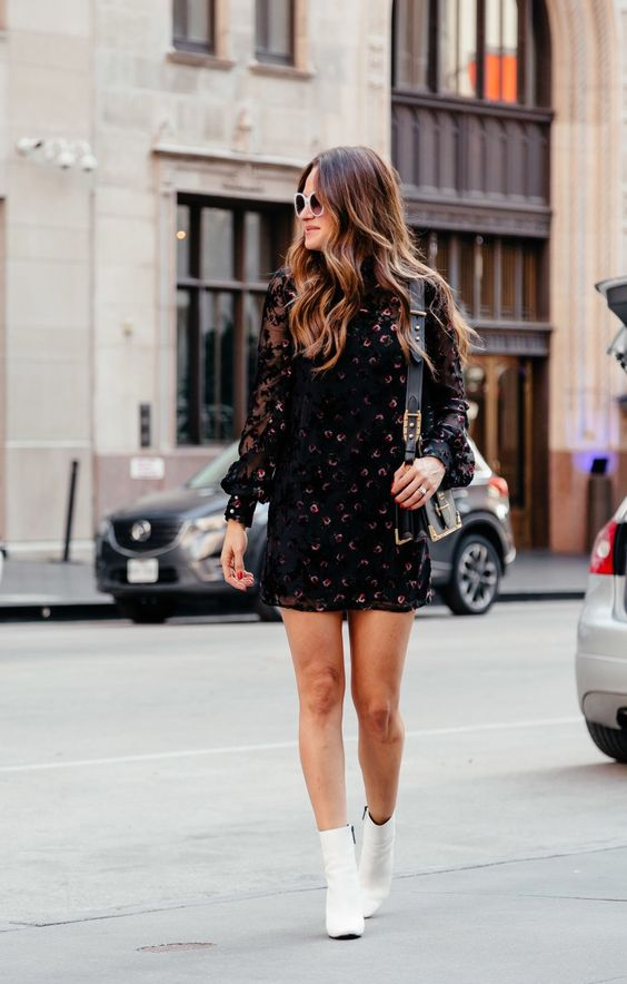 Printed dresses with white ankle boots